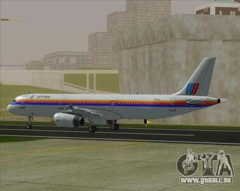 Airbus A321-200 United Airlines für GTA San Andreas Rückansicht