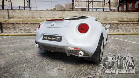 Alfa Romeo 4C pour GTA 4 Vue arrière de la gauche
