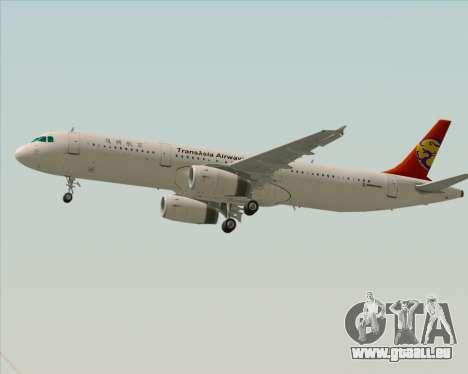 Airbus A321-200 TransAsia Airways für GTA San Andreas zurück linke Ansicht