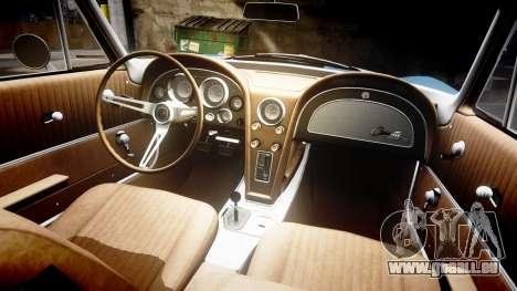 Chevrolet Corvette Stingray 1963 v2.0 pour GTA 4 est une vue de l'intérieur