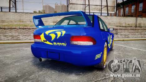 Subaru Impreza WRC 1998 Rally v2.0 Yellow pour GTA 4 Vue arrière de la gauche