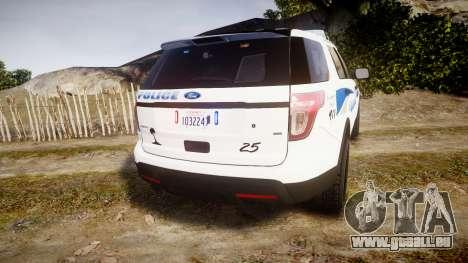 Ford Explorer 2013 PS Police [ELS] pour GTA 4 Vue arrière de la gauche