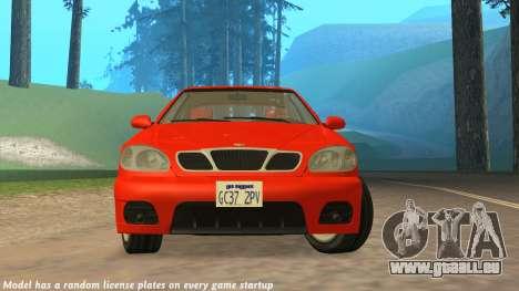 Daewoo Lanos Sport NOUS 2001 pour GTA San Andreas vue de dessus