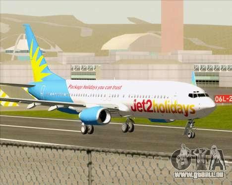 Boeing 737-800 Jet2Holidays pour GTA San Andreas sur la vue arrière gauche