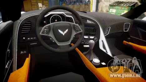 Chevrolet Corvette Z06 2015 TirePi2 pour GTA 4 est une vue de l'intérieur