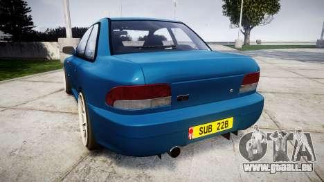 Subaru Impreza 22B Street pour GTA 4 Vue arrière de la gauche