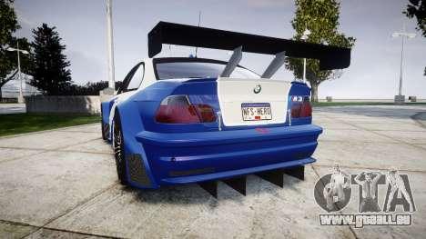 BMW M3 E46 GTR Most Wanted plate NFS-Hero für GTA 4 hinten links Ansicht