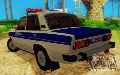 VAZ-2106 Police pour GTA San Andreas sur la vue arrière gauche