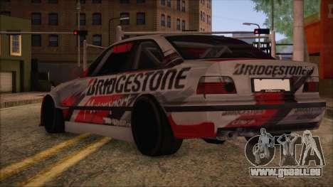 BMW E36 Coupe Bridgestone pour GTA San Andreas laissé vue