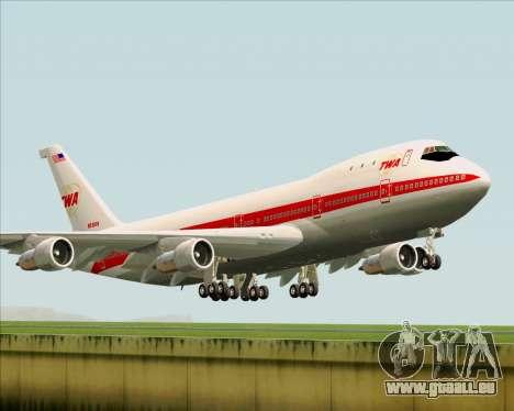 Boeing 747-100 Trans World Airlines (TWA) pour GTA San Andreas sur la vue arrière gauche