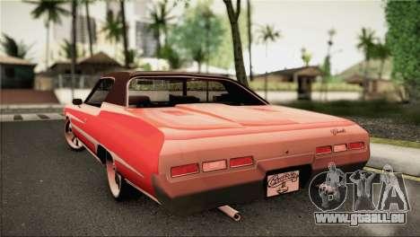 Chevrolet Impala Lowrider pour GTA San Andreas laissé vue