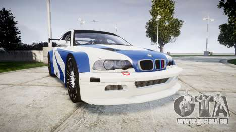 BMW M3 E46 GTR Most Wanted plate NFS-Hero für GTA 4