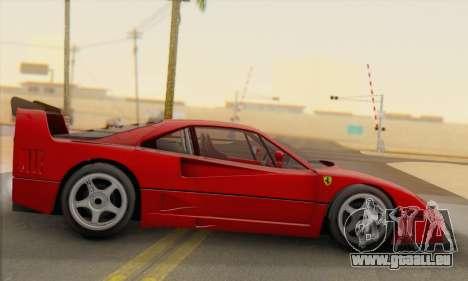 Ferrari F40 Competizione Black Revel für GTA San Andreas linke Ansicht