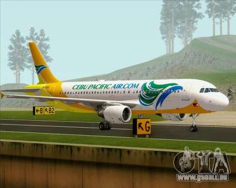 Airbus A320-200 Cebu Pacific Air pour GTA San Andreas sur la vue arrière gauche