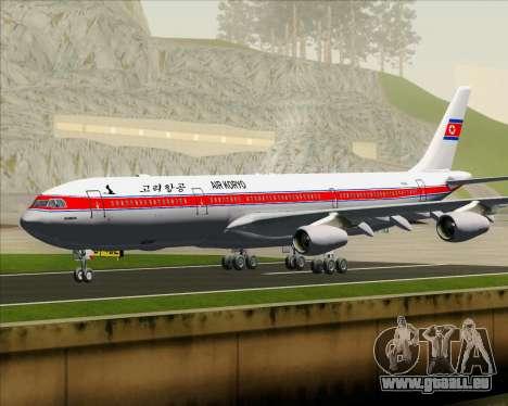 Airbus A340-300 Air Koryo pour GTA San Andreas sur la vue arrière gauche