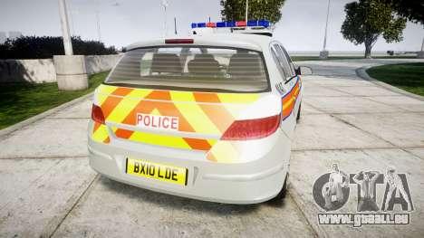 Vauxhall Astra 2010 Metropolitan Police [ELS] pour GTA 4 Vue arrière de la gauche
