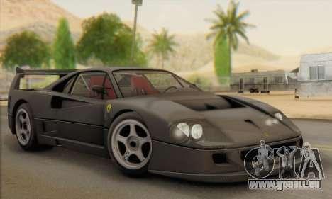 Ferrari F40 Competizione Black Revel für GTA San Andreas Innenansicht