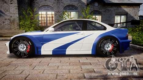 BMW M3 E46 GTR Most Wanted plate NFS Carbon pour GTA 4 est une gauche