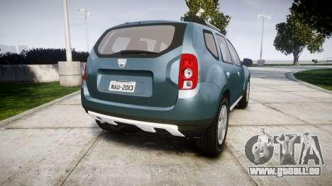 Dacia Duster 2013 pour GTA 4 Vue arrière de la gauche