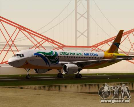 Airbus A320-200 Cebu Pacific Air für GTA San Andreas obere Ansicht