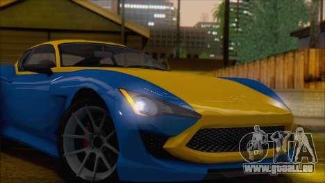 GTA 5 Lampadati Furore GT (IVF) pour GTA San Andreas sur la vue arrière gauche