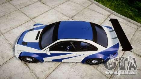 BMW M3 E46 GTR Most Wanted plate NFS-Hero für GTA 4 rechte Ansicht