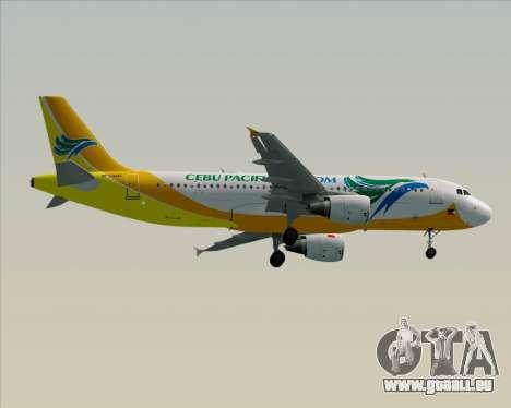 Airbus A320-200 Cebu Pacific Air für GTA San Andreas Rückansicht