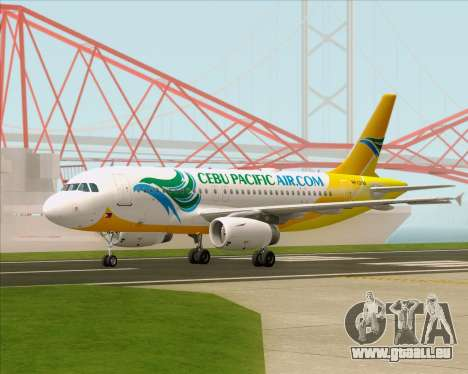 Airbus A319-100 Cebu Pacific Air für GTA San Andreas zurück linke Ansicht