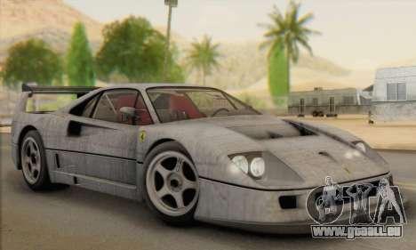 Ferrari F40 Competizione Black Revel für GTA San Andreas Unteransicht