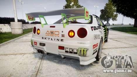 Nissan Skyline R34 GT-R V-Spec [RIV] für GTA 4 hinten links Ansicht