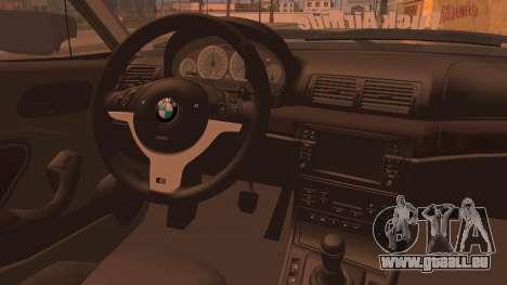 BMW M3 E46 Sedan pour GTA San Andreas sur la vue arrière gauche