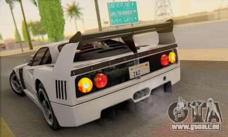 Ferrari F40 Competizione Black Revel für GTA San Andreas zurück linke Ansicht