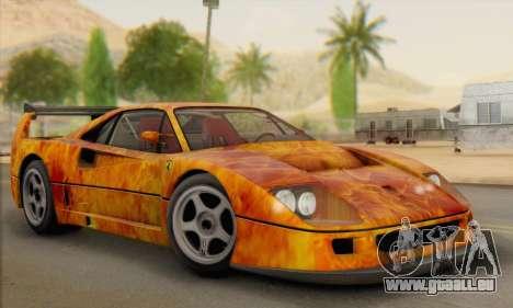 Ferrari F40 Competizione Black Revel für GTA San Andreas obere Ansicht