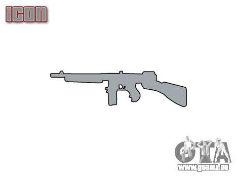 Pistolet mitrailleur Thompson M1A1 tambour icon1 pour GTA 4 troisième écran