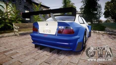 BMW M3 E46 GTR Most Wanted plate NFS Carbon pour GTA 4 Vue arrière de la gauche