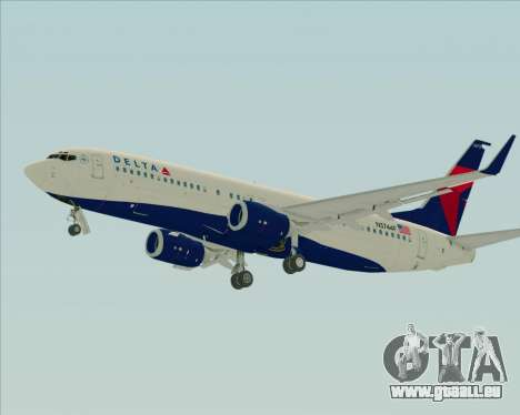 Boeing 737-800 Delta Airlines für GTA San Andreas zurück linke Ansicht