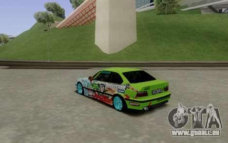 BMW E36 Bridgstone pour GTA San Andreas sur la vue arrière gauche