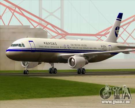 Airbus A320-200 CNAC-Zhejiang Airlines für GTA San Andreas obere Ansicht