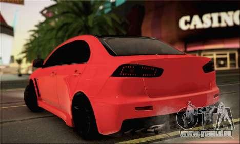 Mitsubishi Lancer Evo X pour GTA San Andreas laissé vue