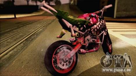 Kawasaki Ninja Zx6R v3 pour GTA San Andreas sur la vue arrière gauche