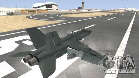 FA-18 Hornet Malaysia Air Force pour GTA San Andreas laissé vue