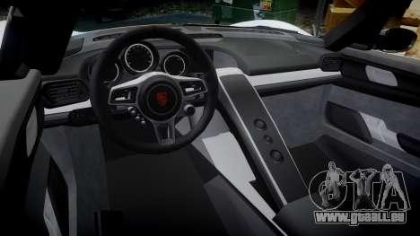 Porsche 918 Spyder 2014 Weissach für GTA 4 Innenansicht