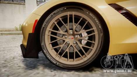 Chevrolet Corvette Z06 2015 TireMi5 pour GTA 4 Vue arrière