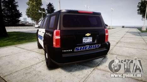 Chevrolet Tahoe 2015 Sheriff [ELS] pour GTA 4 Vue arrière de la gauche