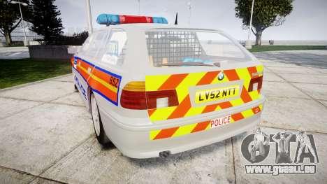 BMW 525i E39 Touring Police [ELS] JSTV pour GTA 4 Vue arrière de la gauche