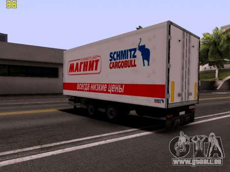 Remorque Magnit pour GTA San Andreas laissé vue