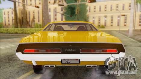 Dodge Challenger 1971 pour GTA San Andreas sur la vue arrière gauche