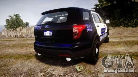 Ford Explorer 2013 Sheriff [ELS] v1.0L pour GTA 4 Vue arrière de la gauche