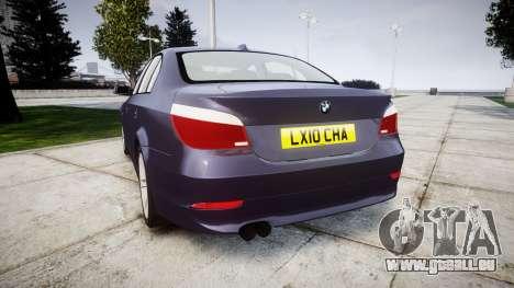 BMW 525d E60 2009 pour GTA 4 Vue arrière de la gauche