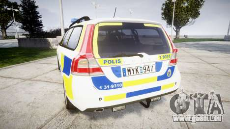 Volvo V70 2014 Swedish Police [ELS] Marked für GTA 4 hinten links Ansicht